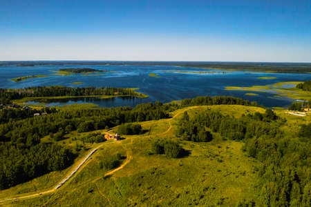 Top view of the Snudy and Strusto lakes in the Braslav lakes National Park, the most beautiful lakes in Belarus.