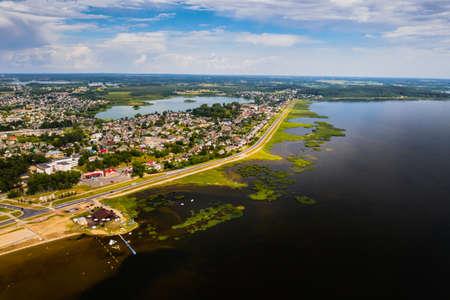 Top view of the city of Braslav in summer, Vitebsk region, Belarus ..