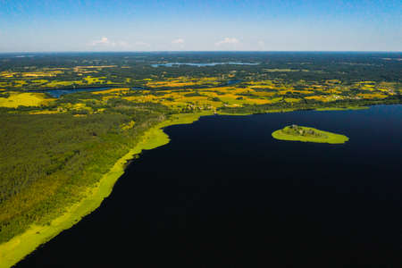 Top view of lake Drivyaty in the Braslav lakes National Park, the most beautiful lakes in Belarus.An island in the lake.Belarus.