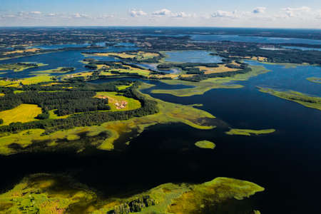 Top view of the Snudy and Strusto lakes in the Braslav lakes National Park, the most beautiful lakes in Belarus.Belarus