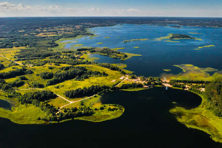 Top view of the Snudy and Strusto lakes in the Braslav lakes National Park, the most beautiful lakes in Belarus.Belarus.