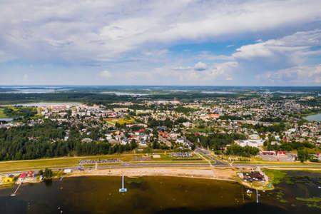 Top view of the city of Braslav in summer, Vitebsk region, Belarus.