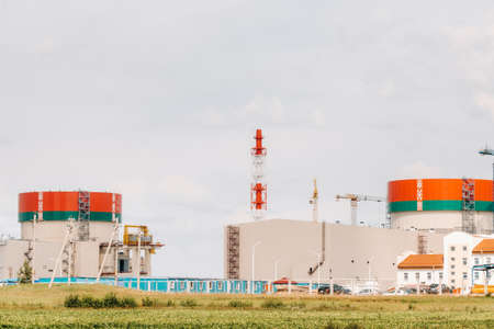 Belarusian nuclear power plant in Ostrovets district.Field around the nuclear power plant. Belarus