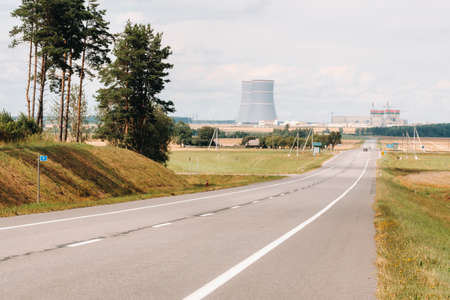 The road leading to the nuclear power plant in the Ostrovets district.The road to the nuclear power plant.Belarus