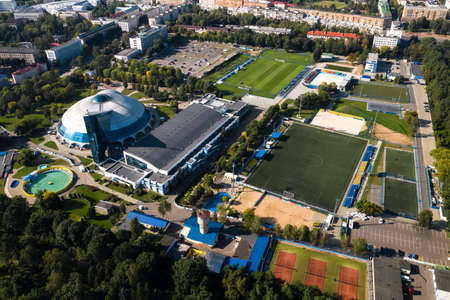 Sports complex in the center of Minsk with open stadiums for games. Belarus.