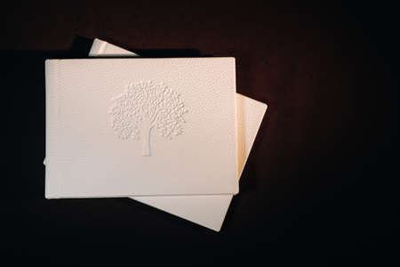 Composition of photo books in natural white leather of different sizes. The white paper on a dark background