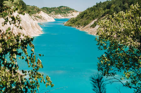 Volkovysk chalk pits or Belarusian Maldives beautiful saturated blue lakes. Famous chalk quarries near Vaukavysk, Belarus. Developed for the needs of Krasnaselski plant construction materials.