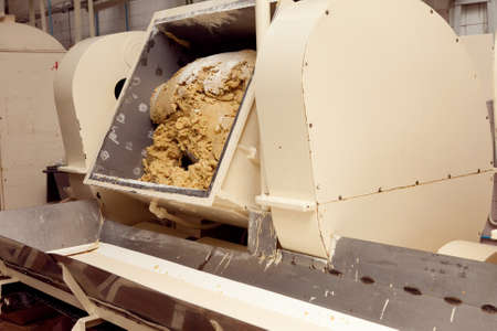 cookie making machine in the factory.
