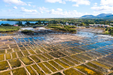 Salt production on the island of Mauritius in the Indian Ocean.