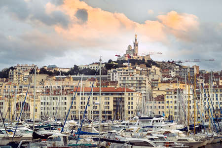 Old port with yachts in the city of Marseille.France