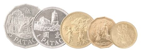 A complete set of Macau coins rowed one after another. Isolated over white background.