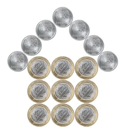 Home made from Belarusian coins isolated on white background 版權商用圖片