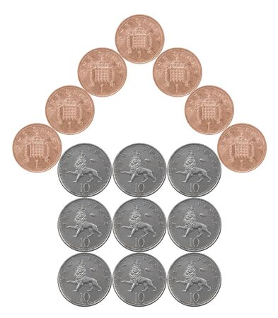 Home made from British coins isolated on white background