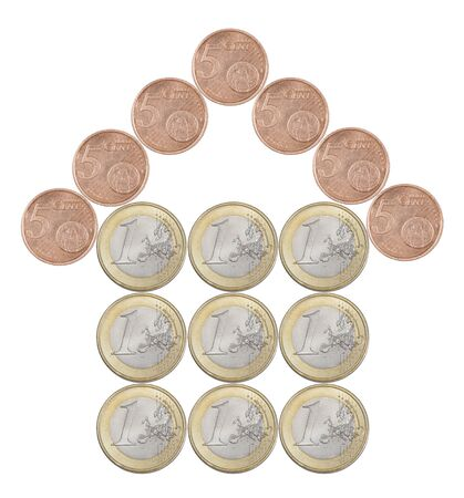 Home made from European coins isolated on white background