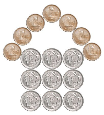Home made from Pakistani coins isolated on white background