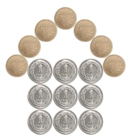 Home made from Polish coins isolated on white background