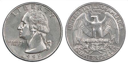 Old American quarter dollar coin Liberty 1998