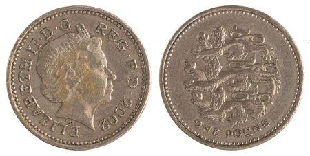 One Pound on a white background closeup