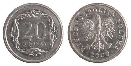 polish 20 groszy coin isolated on white background 版權商用圖片