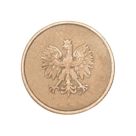 Bronze coin with the image of an eagle on a white background