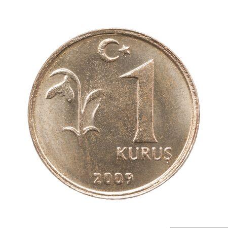 One turkish kurush isolated on white background