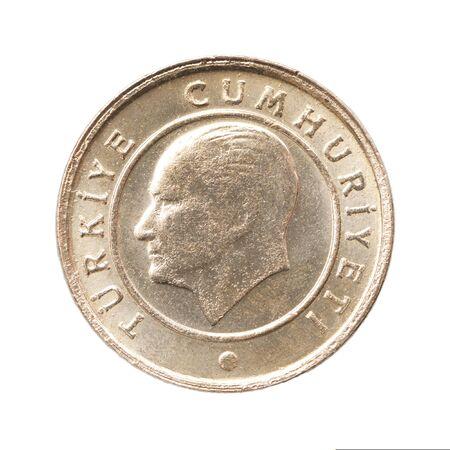 One turkish kurush with portraits of Ataturk is isolated on white background