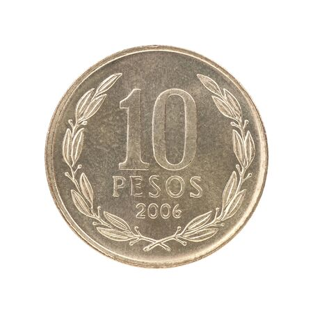Chilean Pesos coin isolated on white background