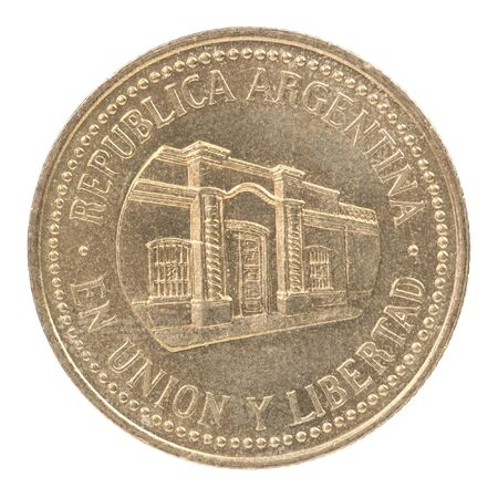 Argentine centavo coin with the image of Casa de Tucuman isolated on a white background