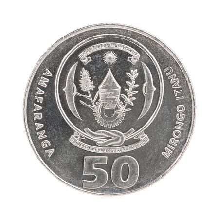 50 Rwanda francs isolated on white background