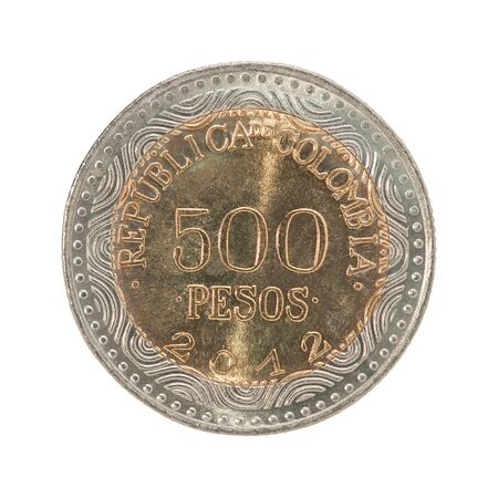 Colombia 500 pesos isolated on a white background Stock Photo