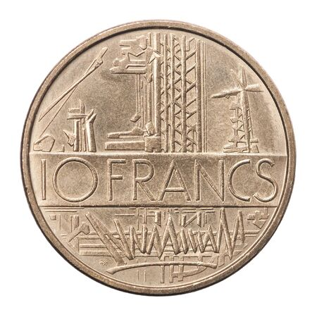 French 10 francs coin isolated on white background