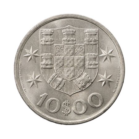 10 Portuguese escudo with the coat of arms on a white background