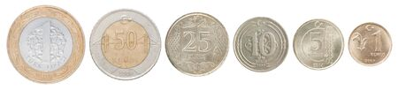 Complete set of Turkish coins in a row isolated on white background.