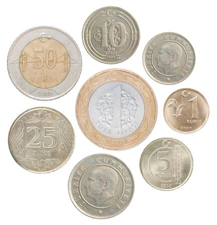 A full set of turkey coins in a heap and isolated on a white background Stock fotó