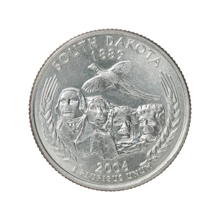 The quarter dollar from South Dakota on a white background