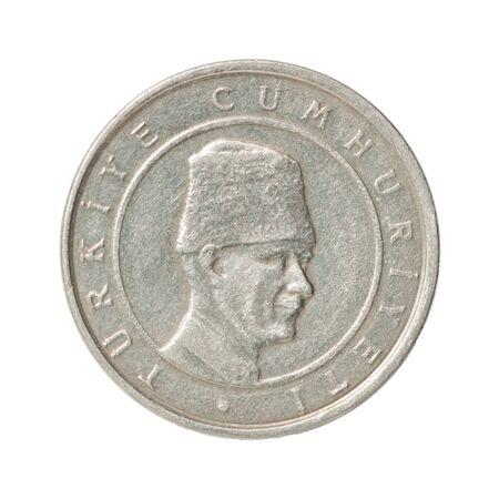 Turkish 100 BinLira closeup isolated on white background