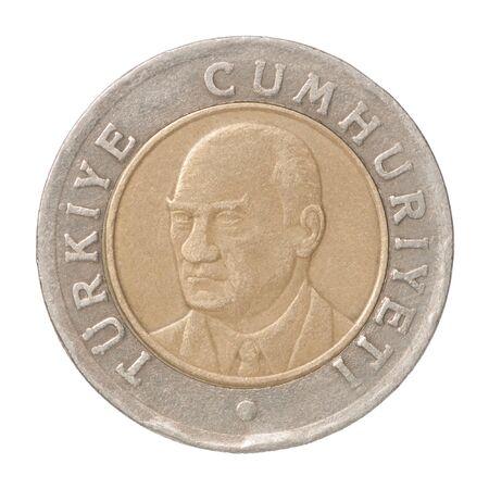 One Turkish Lira closeup isolated on white background Stock fotó