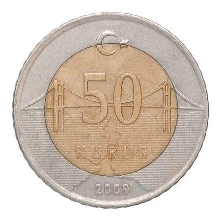 50 Turkish kurus coin closeup isolated on white background Stock fotó