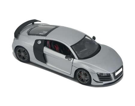 Almaty, Kazakhstan - February 20, 2014: Collectible toy model silver sport car Audi R8 Éditoriale