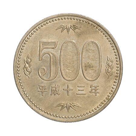 500 Japanese yen closeup on white background