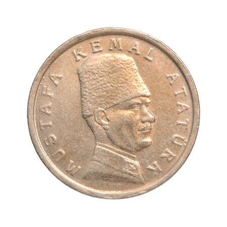 Turkish Lira with the image of Mustafa Kemal Ataturk isolated on white background