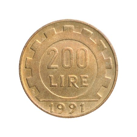 200 Italian lire on a white background Banque d'images