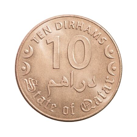 Coin ten Qatar dirhams isolated on white background