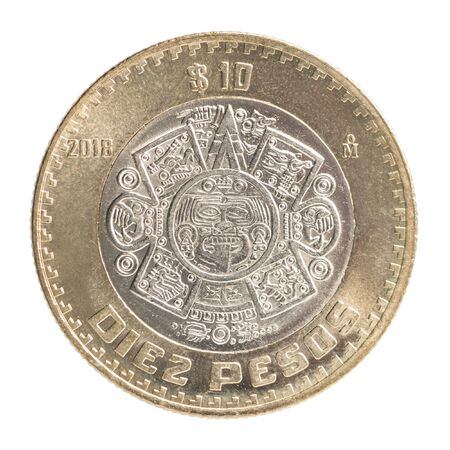 Ten Mexican Peso coin with the image of a stone of the Sun with a mask of God Tonatiu isolated on a white background