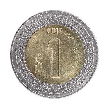 One mexican pesos coin isolated on white background