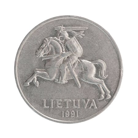 Coin Lithuania cents with the image of the country's emblem isolated on white background Stock fotó