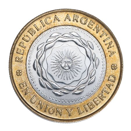 two argentinian peso coin isolated on white background