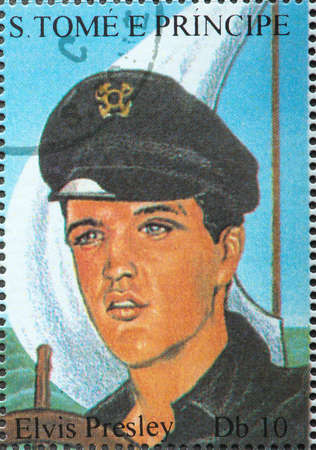 SAO TOME AND PRINCIPE - CIRCA 1995. A postage stamp printed by S. Tome and Principe shows image portrait of famous American singer Elvis Presley, 60th birthday series, circa 1995