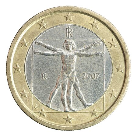 "One euro coin with the image of Leonardo da Vinci ""Harmonious Man"" (""Uomo vetruvio""), exhibited at the Academy Gallery in Venice, isolated on a white background"
