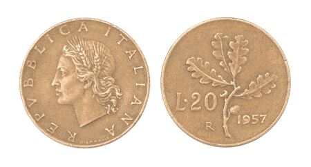 Old Italian coin 20 Lira with image Women in wreath and oak branch isolated on white background Archivio Fotografico